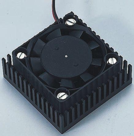Fischer Elektronik Heatsink, Universal Square Alu with fan, 1.5K/W, 46.9 x 20 x 46.48mm, Conductive Foil, Black