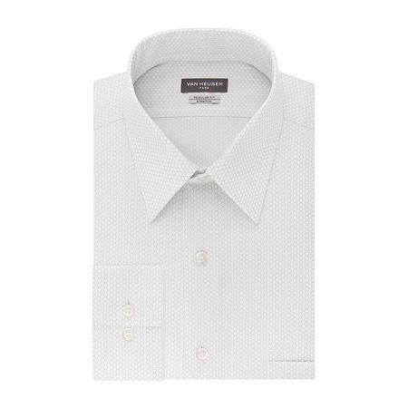Van Heusen Flex Collar Big And Tall Mens Point Collar Long Sleeve Stretch Dress Shirt, 17 35-36, Silver