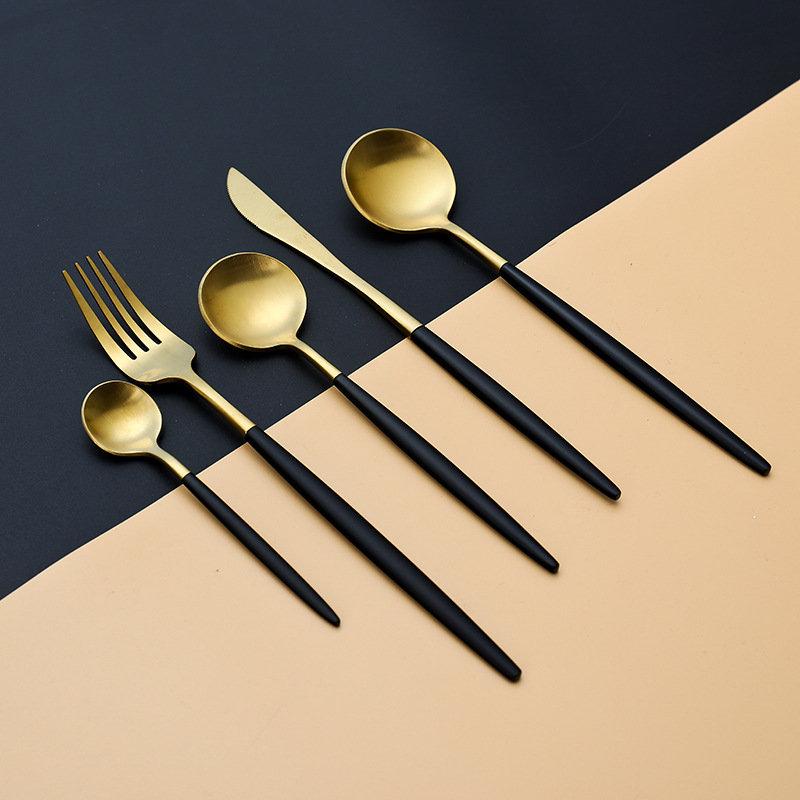 Food Grade 304 Stainless Steel Flatware Set Black Gold Dinnerware Without BPA Not Deformed Tableware