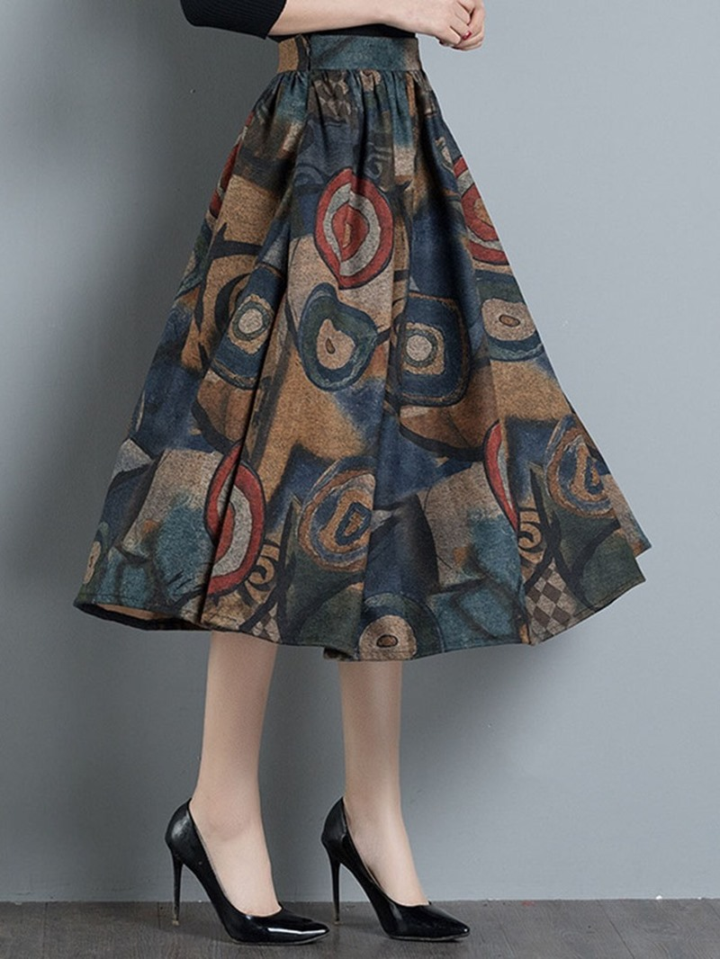 Ericdress Mid-Calf Print A-Line Vintage Skirt