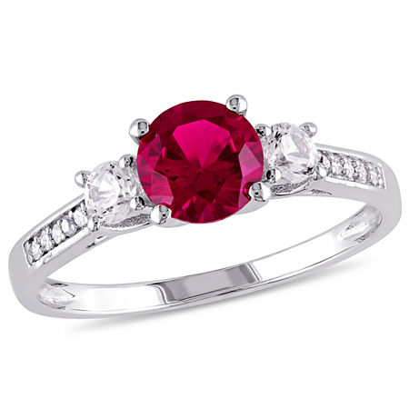Womens Diamond Accent Lab Created Red Ruby 10K White Gold Round 3-Stone Engagement Ring, 7 , No Color Family