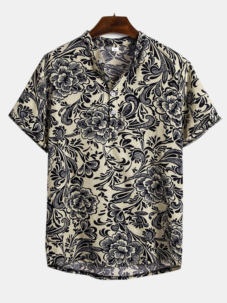 Mens Floral Printed Short Sleeve Henley Shirt