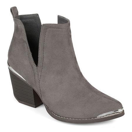 Journee Collection Womens Issla Booties Stacked Heel, 7 Medium, Gray