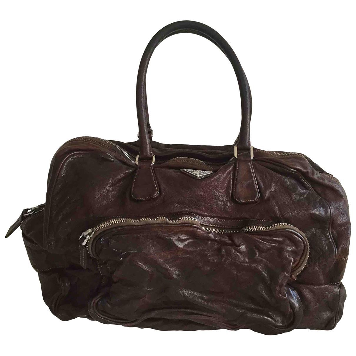 Prada N Brown Leather Travel bag for Women N