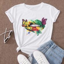 T-Shirt mit Schmetterling & buntem Mund Muster