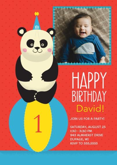 1st Birthday Invitations Flat Glossy Photo Paper Cards with Envelopes, 5x7, Card & Stationery -Panda 1st Birthday