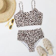 Bikini Badeanzug mit Leopard Muster, Ruesche und hoher Taille