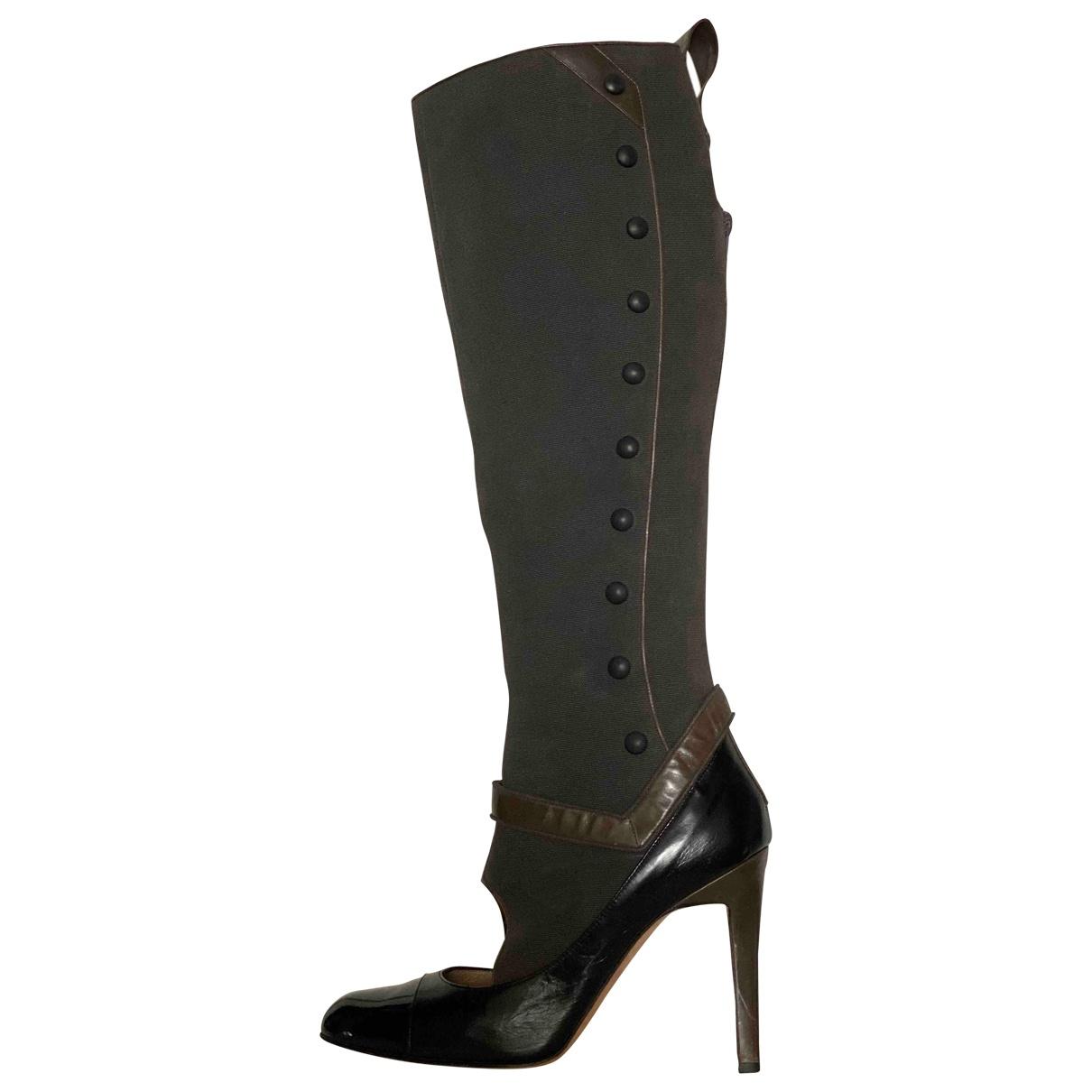 Manolo Blahnik - Bottes   pour femme en cuir - gris