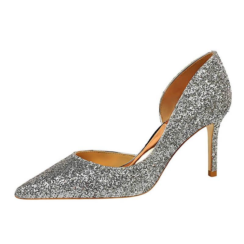 Ericdress Sequin Pointed Toe Stiletto Heel Slip-On Women's Pumps