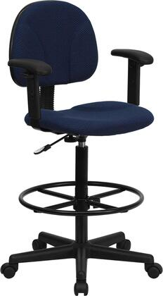 BT659 Collection BT-659-NVY-ARMS-GG Drafting Chair with Adjustable Arms  Gas Cylinder Adjustable Height  Height Adjustable Foot Ring  Swivel Seat