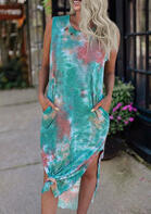 Tie Dye Pocket Slit Casual Dress - Green