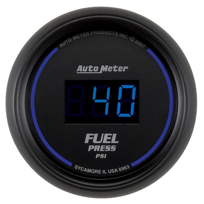 AutoMeter GAUGE; FUEL PRESSURE; 2 1/16in.; 100PSI; DIGITAL; BLACK DIAL W/BLUE LED