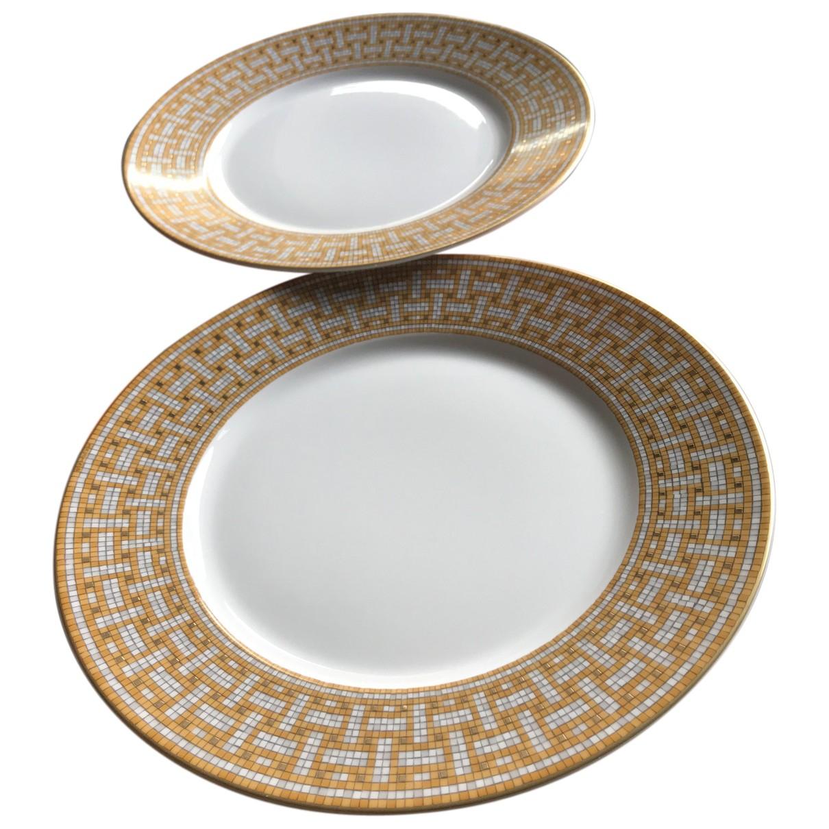 Hermes - Arts de la table Mosaique au 24 pour lifestyle en porcelaine - dore