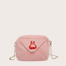 Girls Fluffy Rabbit Decor Crossbody Bag