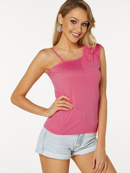 Yoins Pink Cut Out Plain Asymmetrical Design Sleeveless Camis