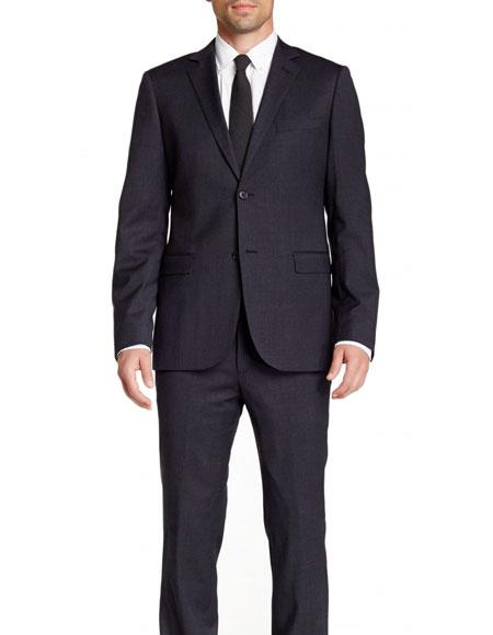 Mens Navy Blue Slim Fit 2 Buttons Wool Notch Lapel Pinstriped Suit