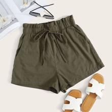 Plus Self-Tie Paperbag Waist Shorts