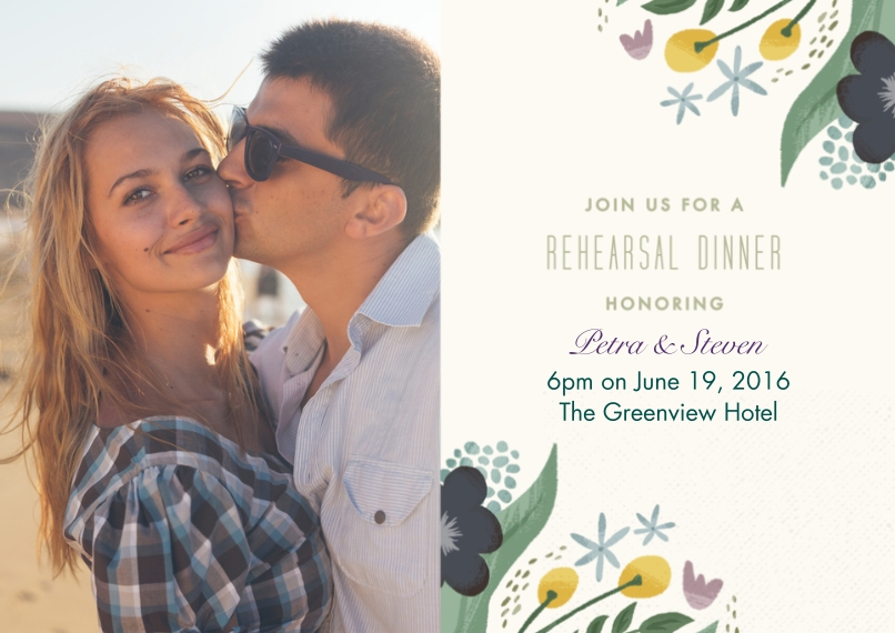 Rehearsal Dinner Invites Flat Matte Photo Paper Cards with Envelopes, 5x7, Card & Stationery -Floral Rehearsal Dinner Wedding Set
