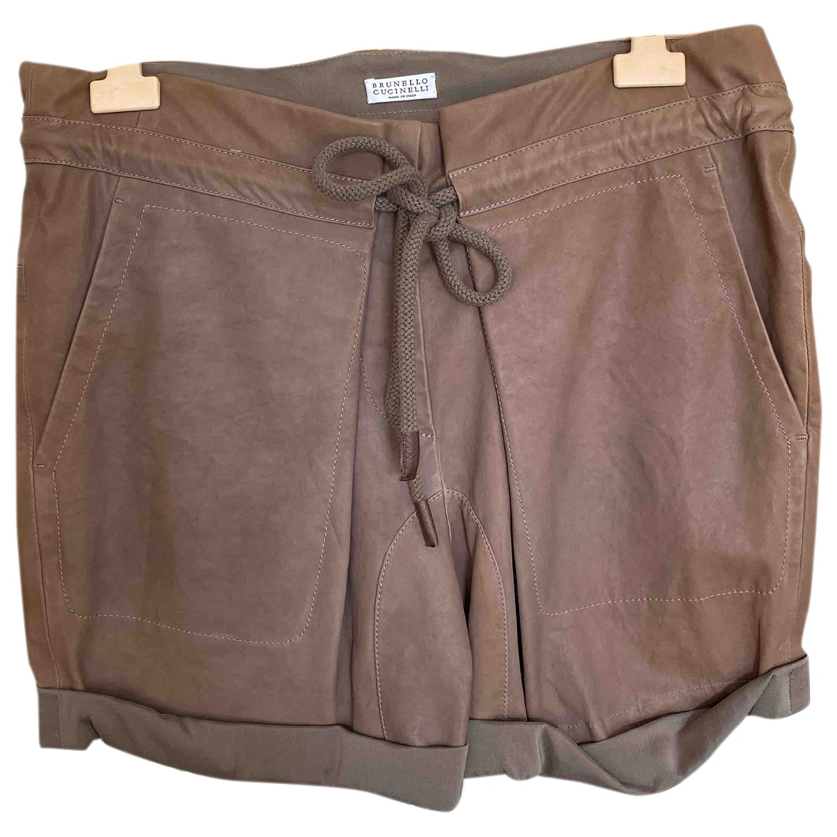 Brunello Cucinelli \N Brown Leather Shorts for Women 42 IT