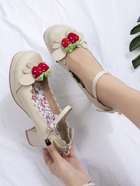 Milanoo Sweet Lolita Footwear Strawberry PU Leather Chunky Heel Lolita Shoes