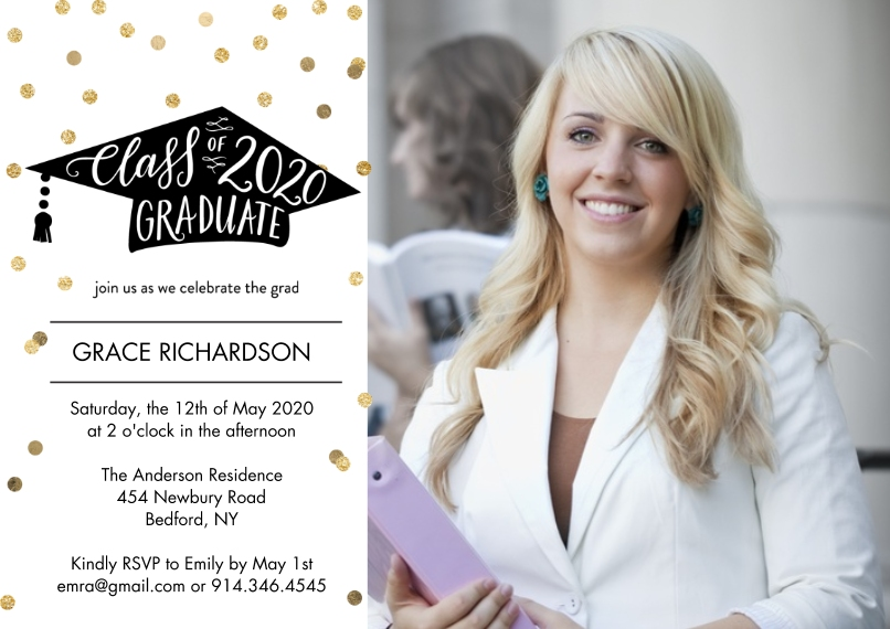 2020 Graduation Invitations 5x7 Cards, Premium Cardstock 120lb, Card & Stationery -Graduate Party 2020 by Tumbalina
