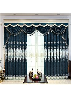 European Hollowed-out Floral Embroidered Thick Chenille Custom Grommet Curtains