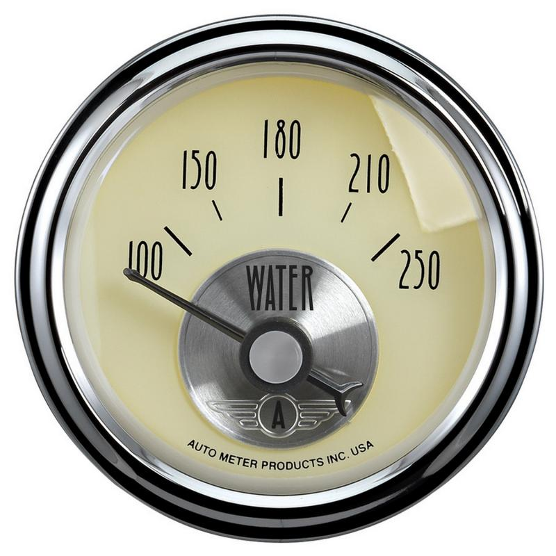 AutoMeter GAUGE; WATER TEMP; 2 1/16in.; 250deg.F; ELEC; PRESTIGE ANTQ. IVORY