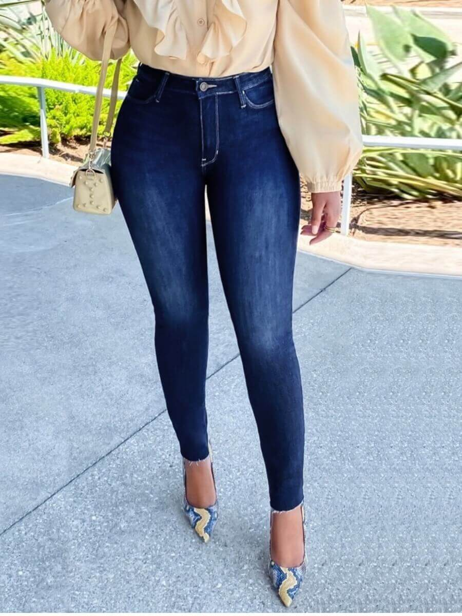 LW Lovely Casual Basic Skinny Deep Blue Jeans