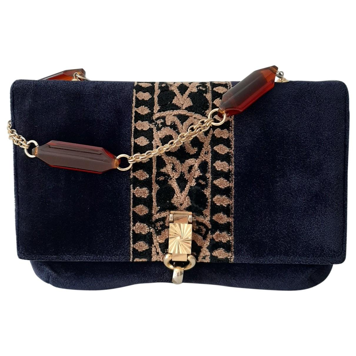 Non Signe / Unsigned \N Handtasche in  Blau Samt