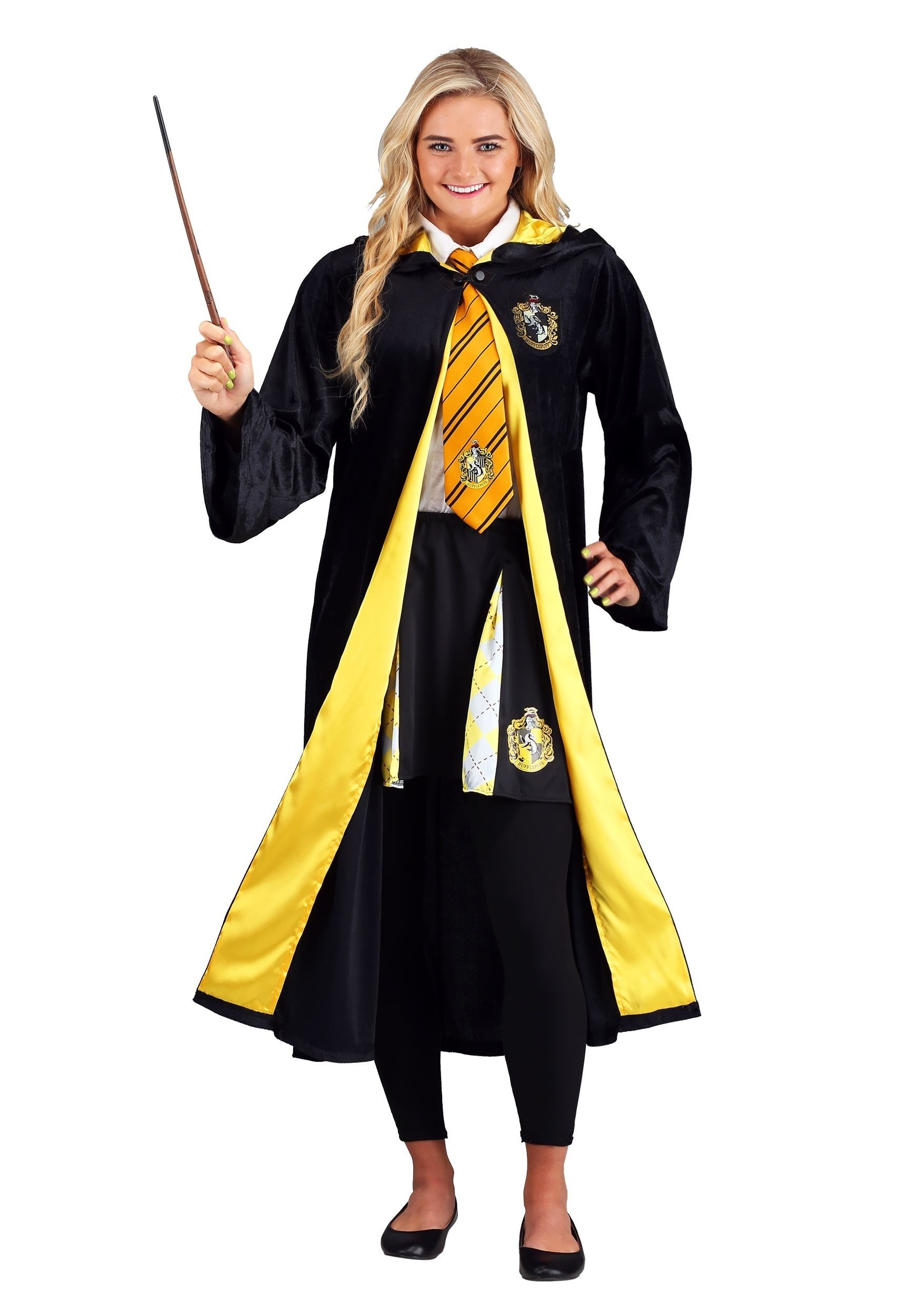 Deluxe Harry Potter Plus Size Hufflepuff Robe Costume for Adults
