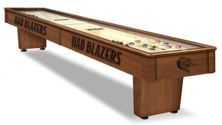 SB12AlaBir Alabama - Birmingham 12 Shuffleboard Table with Solid Hardwood Cabinet  Laser Engraved Graphics  Hidden Storage Drawer and Pucks  Table
