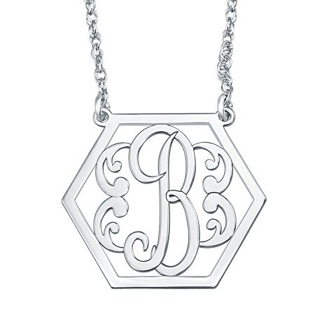 Personalized Hexagon Initial Necklace, One Size , White