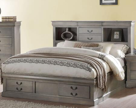 Louis Philippe III Collection 24360Q Queen Size Bed with Storage Drawers  Antique Bronze Metal Handle  Bookcase Storage Headboard  Solid Pine Wood