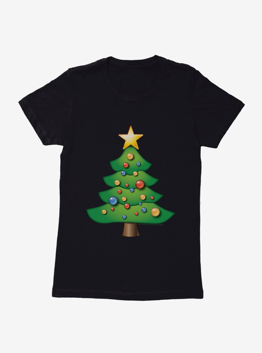 Emoji Holiday Icons Decorated Tree Womens T-Shirt