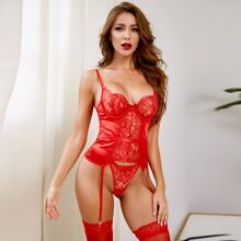 Floral Lace Underwire Garter Bustier Set & Stockings