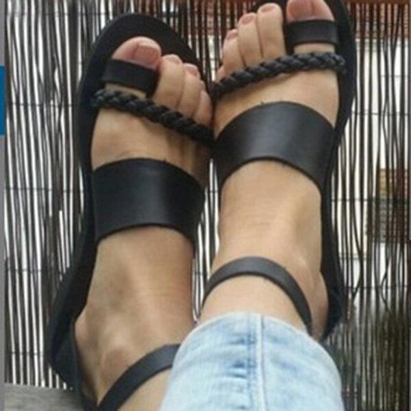 Big Size Women Summer Roman Black Clip Toe Buckle Strap Flat Sandals