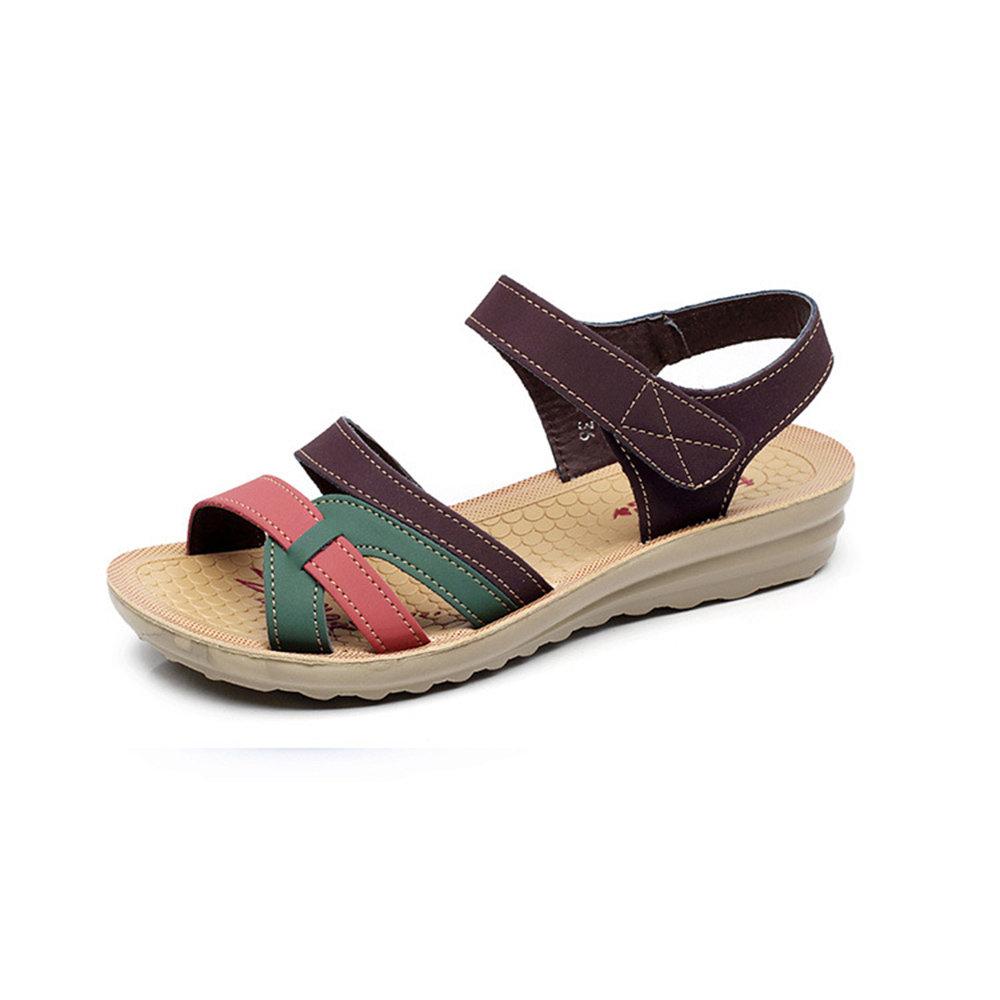 Soft Hook Loop Peep Toe Sandals