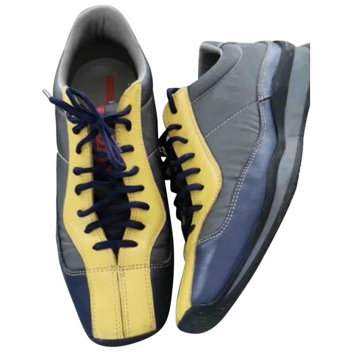 Prada \N Blue Leather Trainers for Men 43 EU