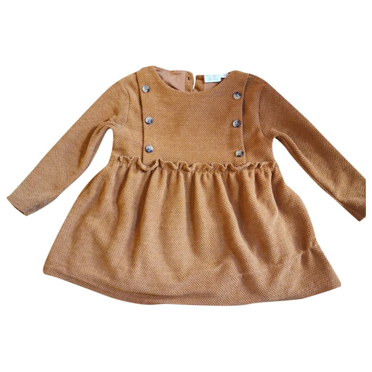 Zara \N Kleid in  Kamel Baumwolle