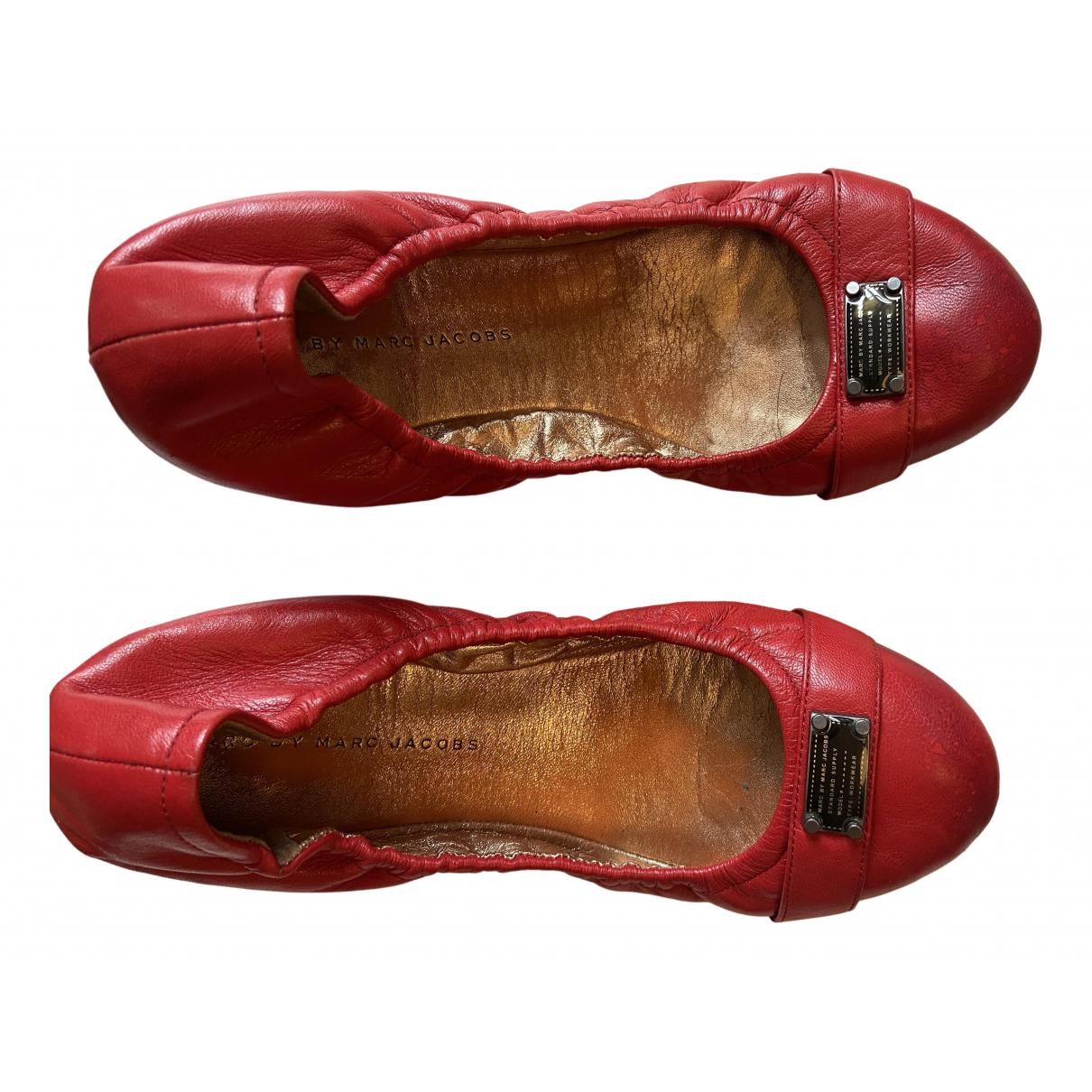 Marc By Marc Jacobs - Ballerines   pour femme en cuir - rouge