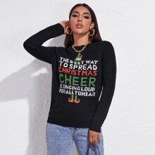 Jersey con patron de slogan y Navidad
