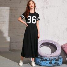 Number Print Varsity Striped Dress