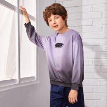 Sweatshirt mit Buchstaben & Geo Muster, Farbverlauf und sehr tief angesetzter Schulterpartie