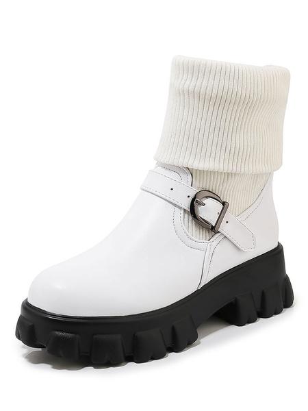 Milanoo Women Flatform Ankle Boots Round Toe Buckle Platform 2 Booties