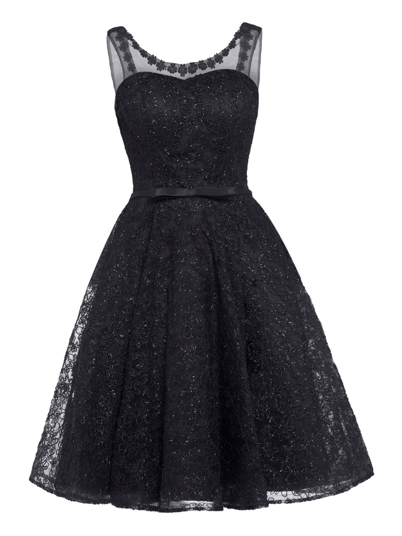 Ericdress V Neck Lace-Up Lace A Line Homecoming Dress