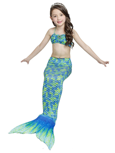 Milanoo Fishtail Swimsuits Girls Mermaid Bikini Set 3 Piece