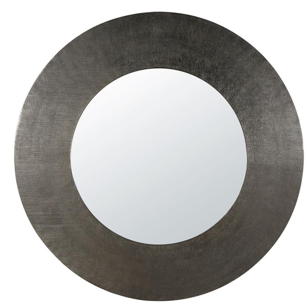 Runder Spiegel aus Metall, schwarz D104