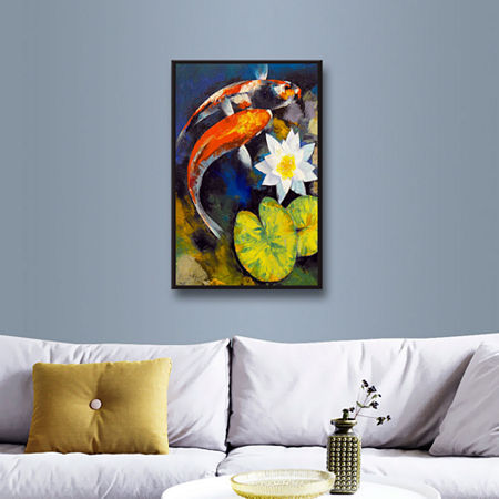 Brushstone Koi Fish and Water Lily Gallery WrappedFloater-Framed Canvas Wall Art, One Size , Blue