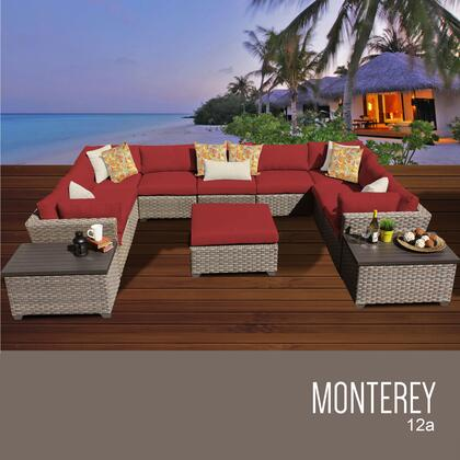 MONTEREY-12a-TERRACOTTA Monterey 12 Piece Outdoor Wicker Patio Furniture Set 12a with 2 Covers: Beige and