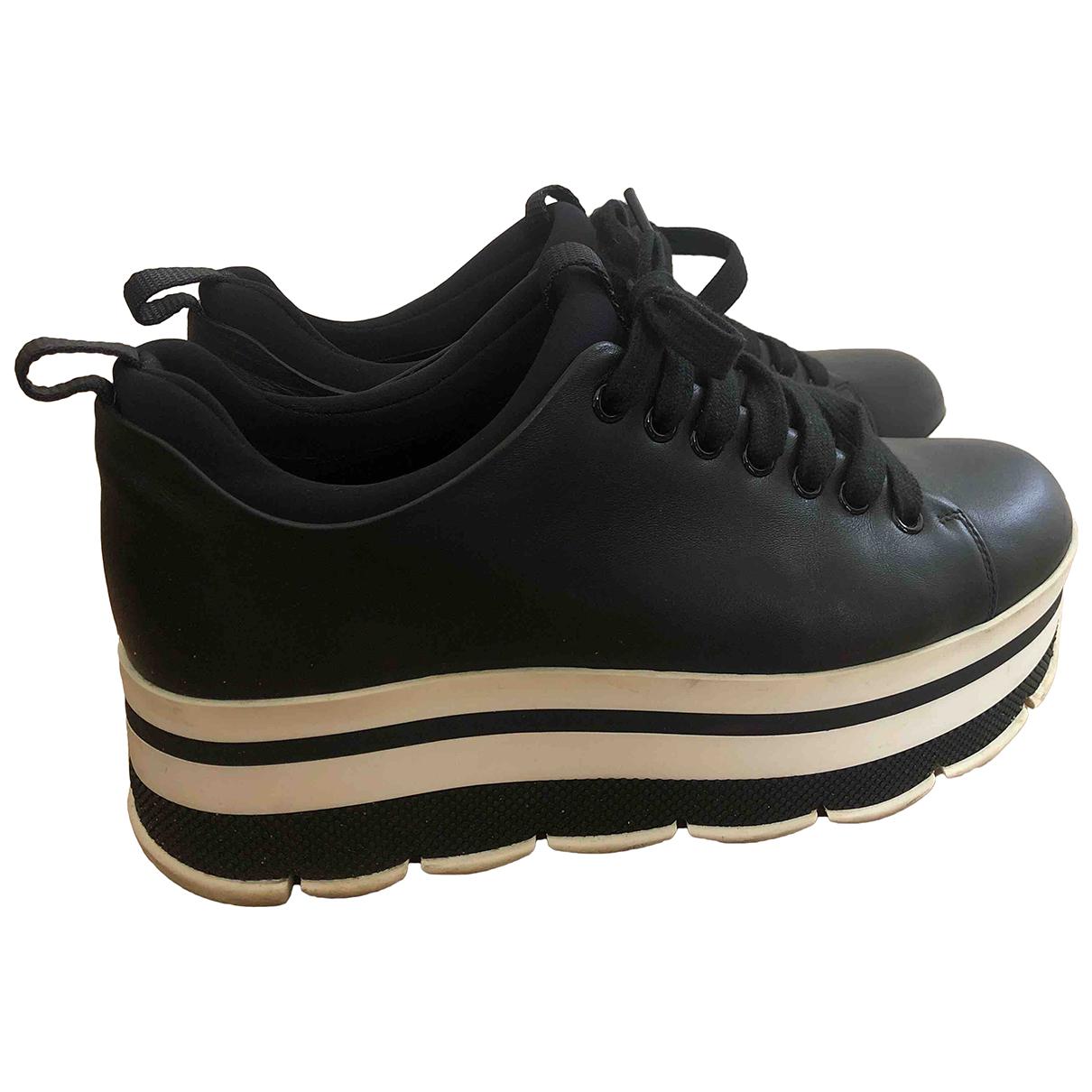 Prada \N Black Leather Lace ups for Women 39 EU